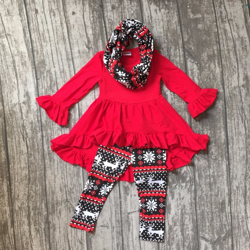 где купить Fall/winter 3 pieces scarf red Christmas top dress baby girls outfits clothes reindeer aztec snowflower cotton pant boutique kid по лучшей цене