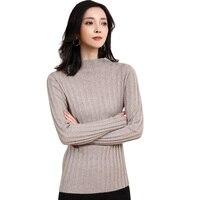 DILLY FASHION mock neck knitwear women wool cashmere sweater GML7276