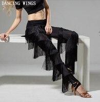 DANCING WINGS Tassel Trouser For Women Elastic High Waist Black Long Pencil Pants Spring Female Fringe Pants