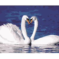 Diy painting by numbers hand painted canvas oil paintings swan picture living room wall canvas art decoration