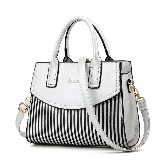 b126a8dcab2 Fashion Dames Zwart-wit Gestreepte Handtas Splitsen Kleur Schoudertas Grote  Capaciteit Luxe Handtassen Vrouwen Tassen