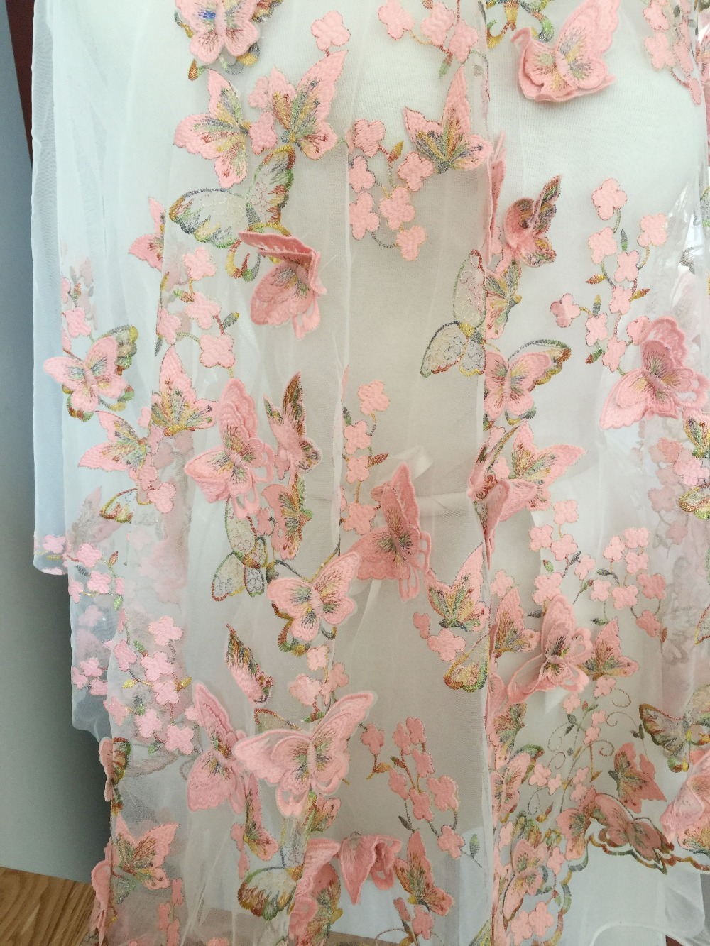 Exquisite 3d Butterfly Lace Fabric In Pink And Gold Thread