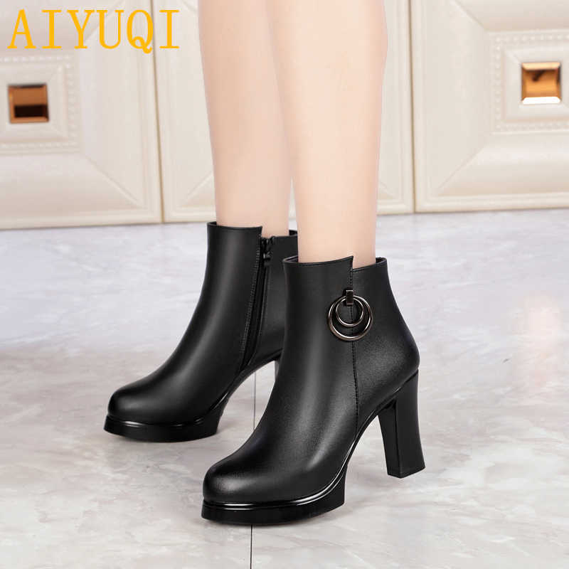 a38577a5d9 AIYUQI Women's booties 2019 new genuine leather women's Martin boots,  high-heeled fashion winter warm thick wool boots snow