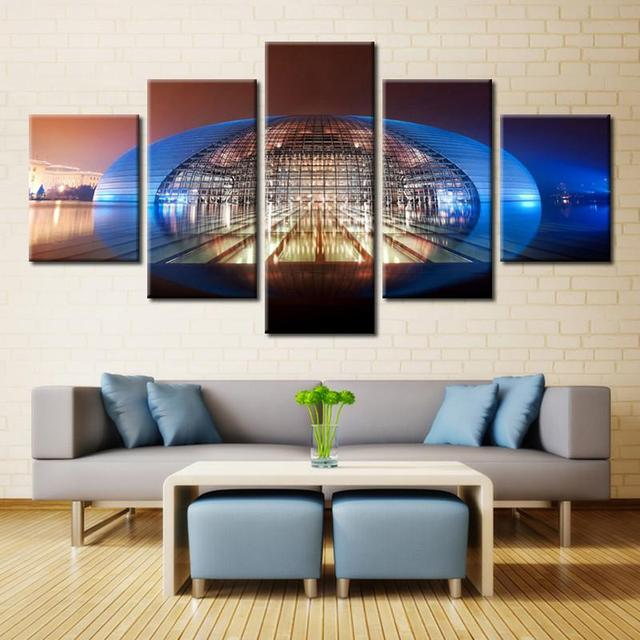 Attractive Canvas Art Wall Modular Picture Home Decoration 5 Panel National Grand  Theatre Living Room Print Frame