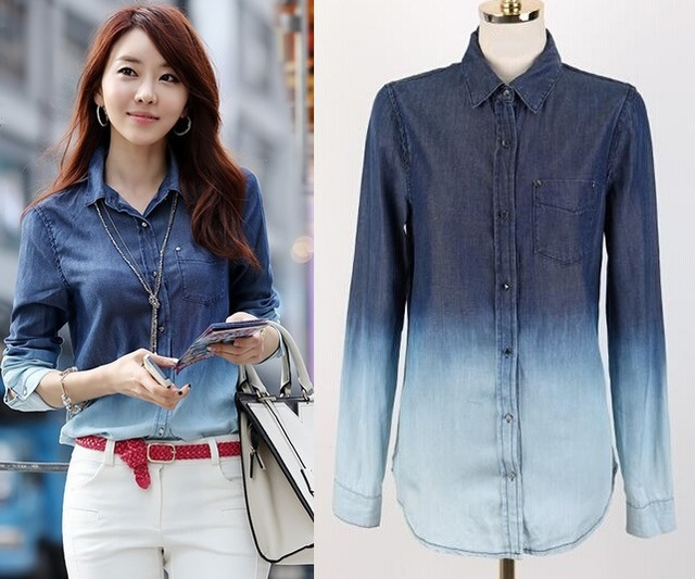 8a9e7f296f High Quality Plus size Denim Shirt 3X 4X 5X Women s Tops Camisa Jeans  Feminina Blue Women Blusa Big Sizes Blouses and Shirt
