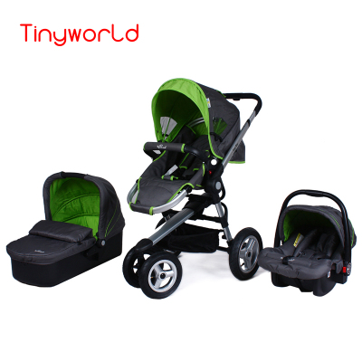 Fashion 3 In 1 Baby Stroller Carrycot Safety Car Seat Hight Landscape Folding Bidirectional Travel System Three Wheels From