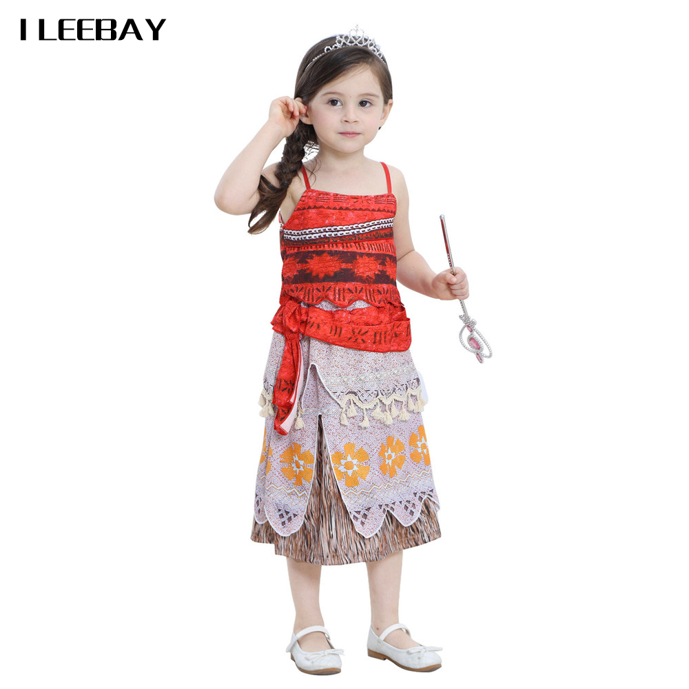 Baby Girls Moana Princess Dress Children Cartoon Halloween Party Gown Toddler Kids Cosplay Costume Girls Shoulderless Clothes цены онлайн