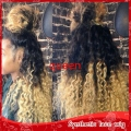 Free shipping New black blonde ombre front lace wig Heat Resistant two tone 1b/613# afro kinky curl synthetic lace front wig
