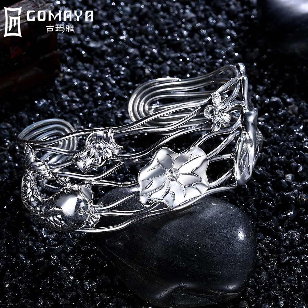 GOMAYA 990 Sterling Silver Bangles Hollow Ethnic Retro Open Cuff Bracelet Punk Boho Popular Armband Fine Jewelry Women Gift punk style exaggerated square hollow out conjoined ring cuff bracelet for women