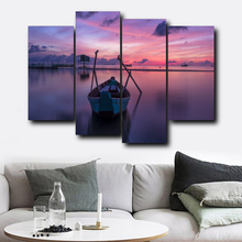 Laeacco 4 Panel Natural Sea Sunrise Boat Nordic Posters and Prints Wall Art Canvas Painting Living Room Bedroom Home Decoration