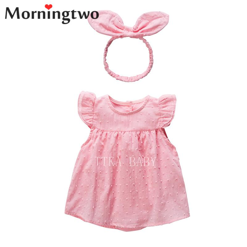 summer Newly Baby Clothing 100% Cotton Babygirls Clothes 2pcs Princess Dress Set With Bow Hair Band Comfortable Solid Dress Set