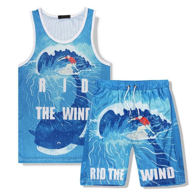 42a37371b019 Tank and Shorts Set Men Summer Sleeveless T shirt Tracksuit Fashion 2pcs Tank  Top Vest 3D Print Cartoon Sea Whale M-XXL
