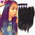 7а Перуанский Девы Волос Прямо С Закрытием 4 Связки Перуанский Прямые Волосы С Закрытием Прямо Перуанский Закрытие