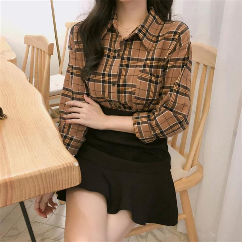 Women's Clothing Womens Shirts Lady Kawaii Ulzzang Vintage Loose Bf Plaid Sanded Shirt Girl Punk Harajuku Tunic For Women Female Ladies Clothing Online Shop