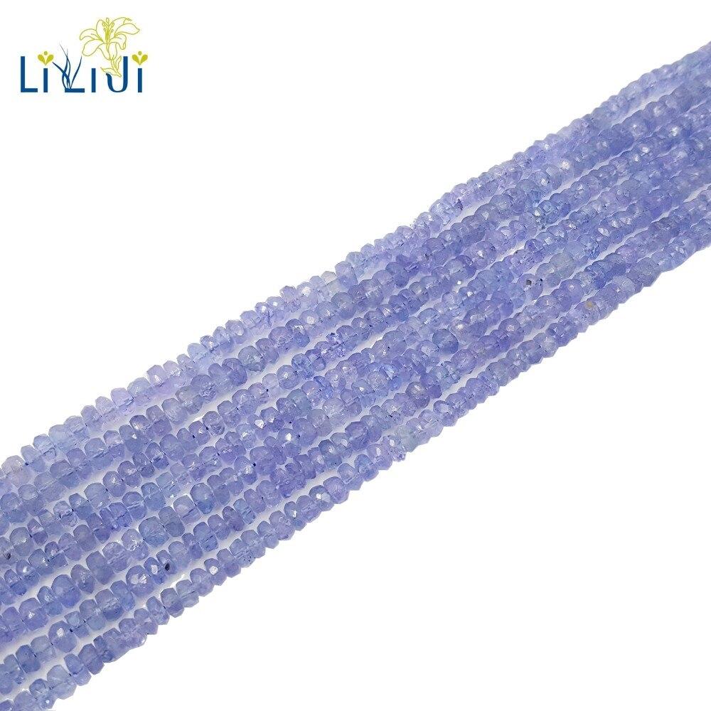 LiiJi, натуральный танзанит оригинальные натуральные танзаниты, круглые/форма Абака, граненые шарики, 1 2 мм x 3 4 мм, для самостоятельного изгото
