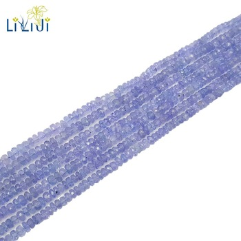 LiiJi Unique Natural Real Tanzanites Flat Round/Abacus Shape Faceted beads 1-2mmx3-4mm DIY Jewelry Making Approx 33cm