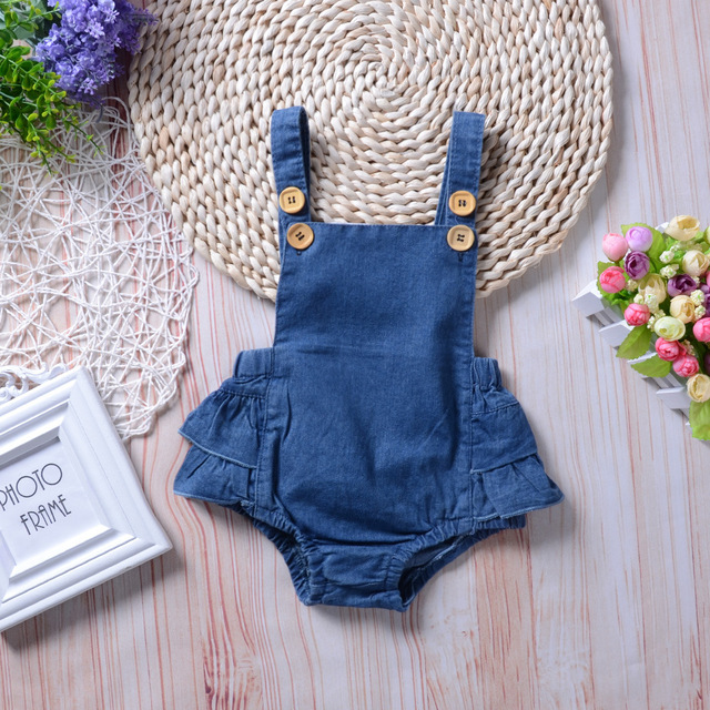 09e0950d1d 2018 Little Baby Girls Denim Ruffles Rompers Toddler Fashion Casual Jumpsuits  Babies Spring Clothes Kids Clothing