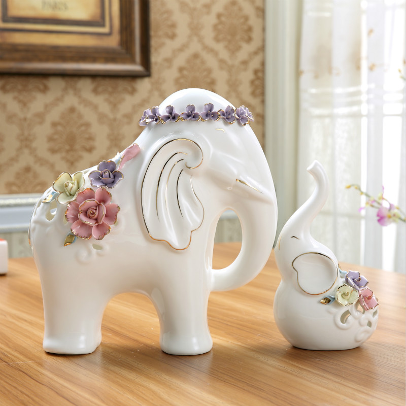 White ceramic flowers elephant lovers statue home decor crafts room decoration wedding ornament Elephant home decor items
