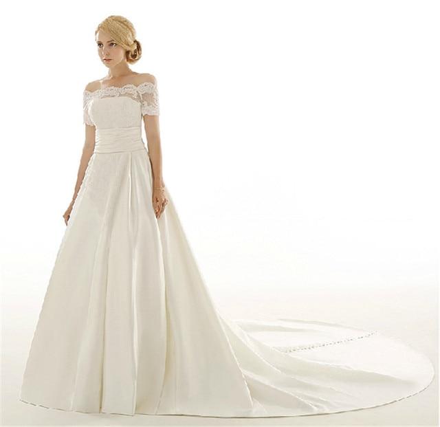 Noiva vestido off the shoulder satin wedding dress short for Short wedding dress with long train