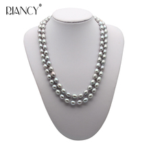 Fashion Double layer Pearl Necklace 8-9MM gray Natural freshwater Choker 925 silver for Women Jewelry