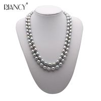 Fashion Double layer Pearl Necklace 8 9MM gray Natural freshwater Pearl Choker 925 silver for Women Pearl Jewelry