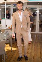 2017 עיצובים צפצף המעיל האחרונים חליפת גברים Slim פשתן חום טאן טוקסידו חתן לנשף חליפות בלייזר שיתאים אישית 2 Piece Terno Masculino