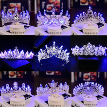12 Styles Glowing Tiaras Rhinestone Crystal Pearl Wedding Bride Crowns with Blue LED Light Luminous Princess Crowns Party Diadem(China)