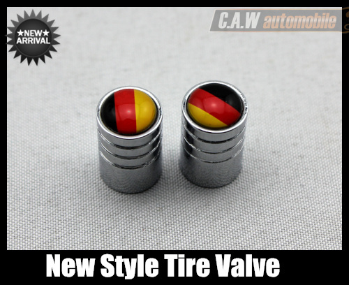 Free shipping new style 4PCS /1Set Flag of Germany Round Shape Car Tire Valve Stem Cap stainless  body Parts