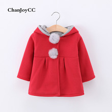 ChanJoyCC Winter Hot Sale Children's Coat Baby Girls Fashion Single Breasted With Two Ball Warm Rabbit Thick Outerwear For Kids