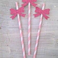 Розовый Блестящий бант соломинки для напитков- свадебный душ/Детские украшения для душа/размешиватели напитков/декоративные соломинки