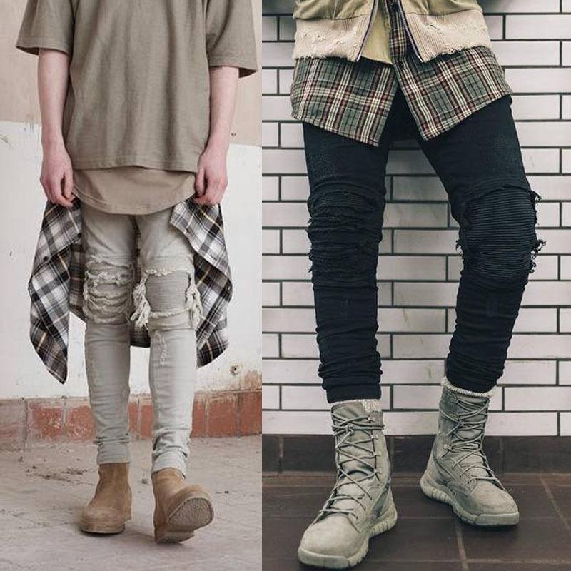 Fashion Men Jeans Pants Slim Runway Straight Denim Destroyed Ripped Trousers Jeans Pants Men