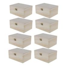 8 peças de madeira sem pintura bugigangas caixa armazenamento jóias lembrança pintura arte artesanato casos diy