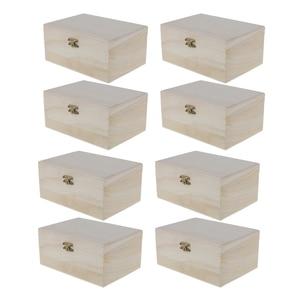 Image 1 - 8 sztuk niepomalowane drewniane ozdoby pudełko do przechowywania biżuterii pamiątka malarstwo rzemiosło artystyczne DIY przypadki