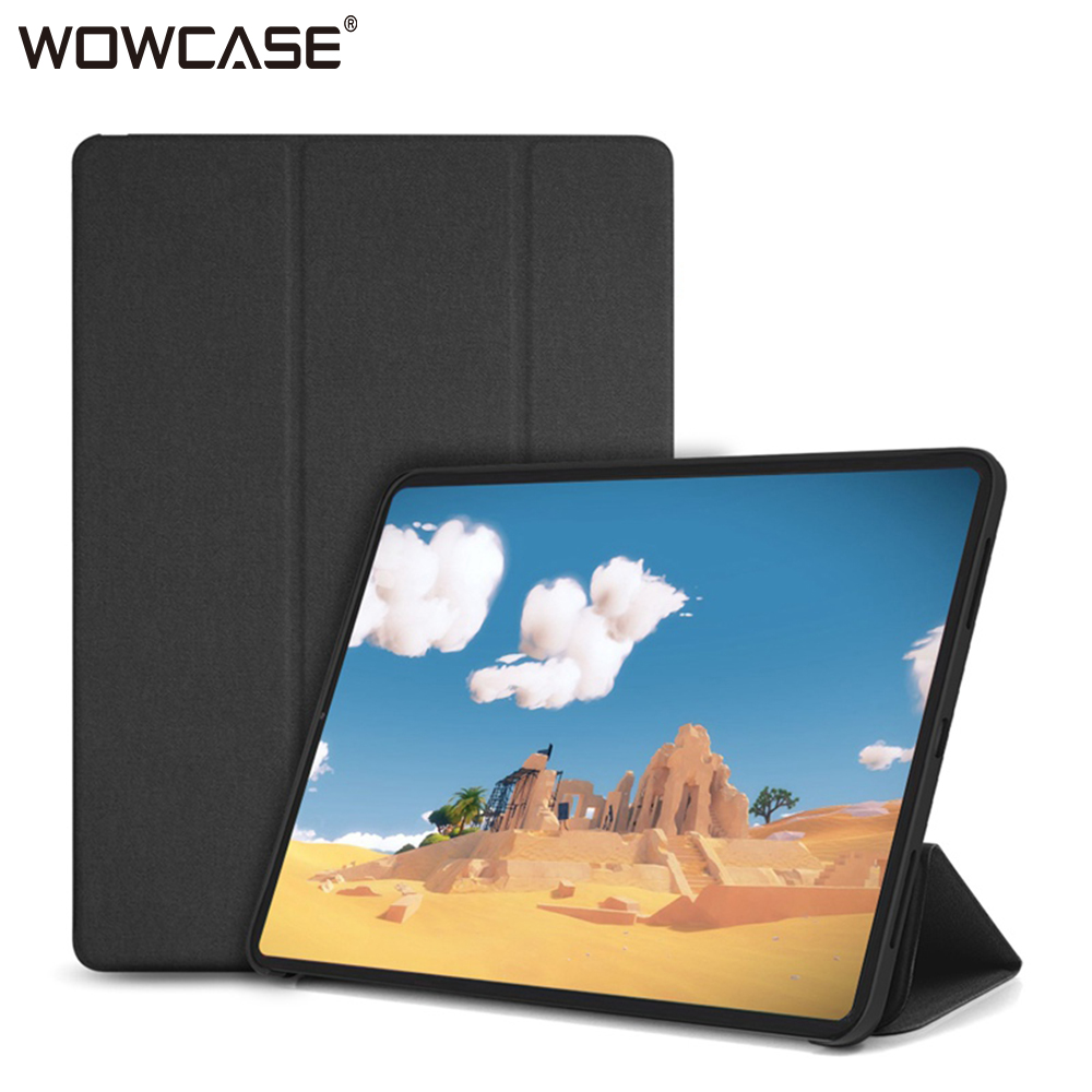 For iPad Pro 12.9 2018 Case,WOWCASE PU Leather Ultra Slim Back Tri-fold Magnetic Flip Smart Tablet Cover Case for iPad 12.9