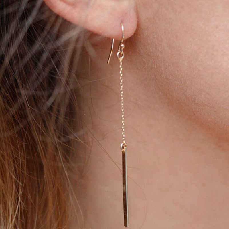 2018 Aretes Punk Jewelry Fashion Women Charms Tassels Metal Bar Ear Drop Earrings Vintage Colour Long Pendant Chain Earring