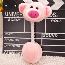 5 Cartoon Pet Products Plush Toys Dog Cats Cute Biting Rope Sound FSD0264