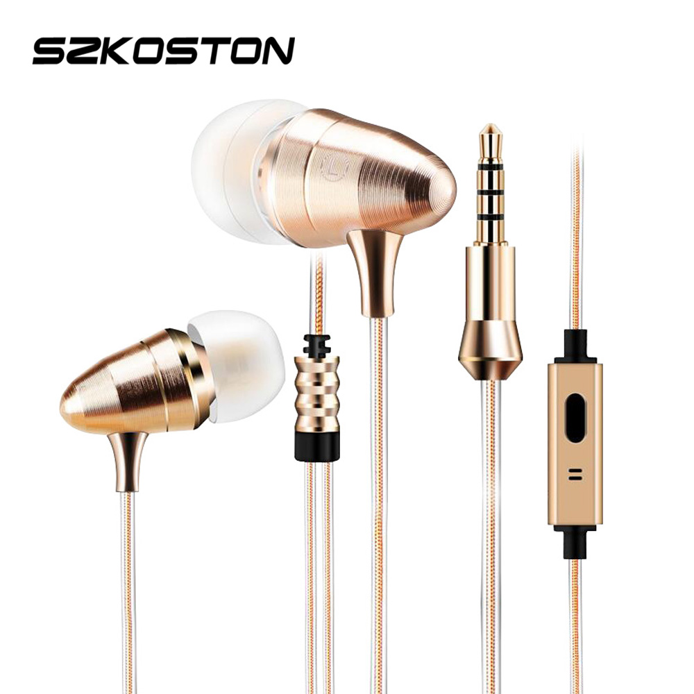 KST Gold metal Bullet Earphones HIFI Super Bass Headphones 3.5mm In-Ear Universal Earbuds Headphone With Microphone For Xiaomi kst x2 super bass professional monitoring headphones good quality hifi headsets earphones universal 3 5mm headphone without mic