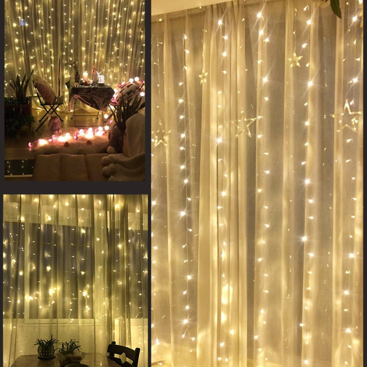 220V 3X6m 600Leds Organza Backdrop LED Curtain Icicle String Light Party Wedding Garden Stage Outdoor Decorative Icicle Lights