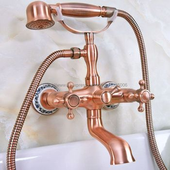 Antique Red Copper Wall Mount Telephone Style Bath Tub Faucet Mixer Tap With Handheld Spray Shower Bna338