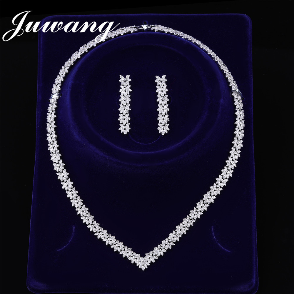 JUWANG Brand Shiny Zircons Exquisite Jewelry Set for Woman Cubic Zirconia Wedding Party  CZ Bridal Necklace Earring Set GiftJUWANG Brand Shiny Zircons Exquisite Jewelry Set for Woman Cubic Zirconia Wedding Party  CZ Bridal Necklace Earring Set Gift