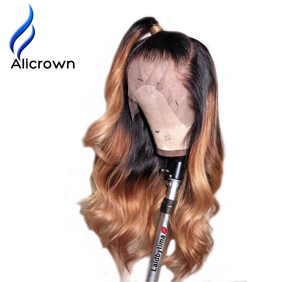 Alicrown Ombre 1B/27 lace Front Human Hair Wigs With Baby Hair Brazilian Body Wave Remy 13*4 Lace Front Wig Bleached Knots(China)