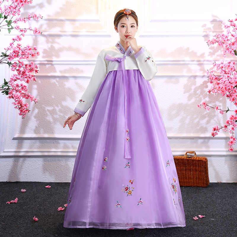 מסורתי עממי ריקוד נשי מיעוט שלב ביצועים ללבוש לנשים מלא שרוול Hanbok רקום פרח תלבושות