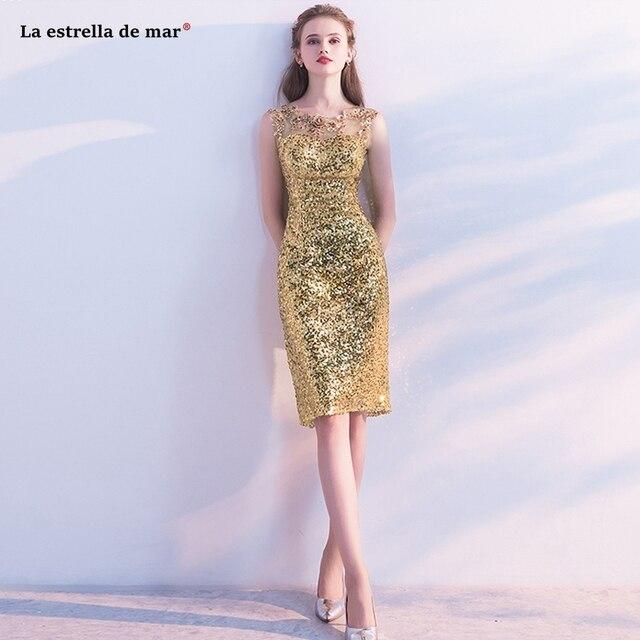 Vestido coctel corto2018 new lace flower sexy mermaid gold sequins cocktail dresses knee length sukienki koktajlowe beautiful