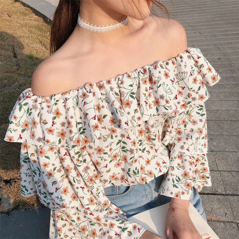 2018 New Womens Printing Fashion Blouses V-neck Lantern Sleeve Bohemian Short Design Holiday Shirts Sexy Lace Up Vintage Shirt Blouses & Shirts