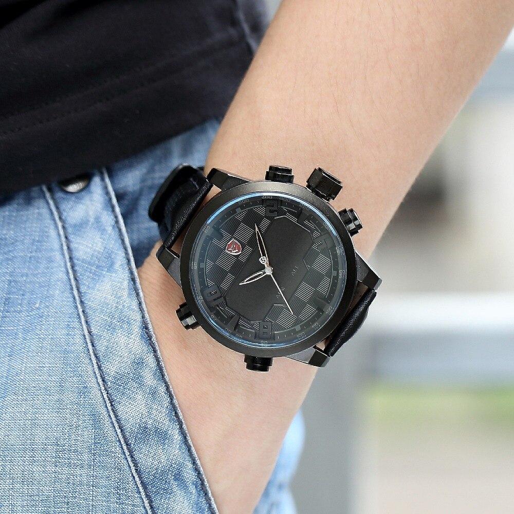Sawback Angel requin Sport montre analogique numérique double mouvement noir complet Date alarme mâle bracelet en cuir montre LED militaire/SH206 - 5