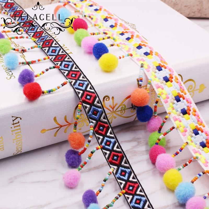 1 Yd Ethnic Beads Tassel Fringe Trim Lace Ribbon Fabric Applique Cloth Craft