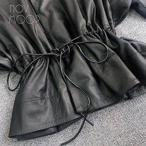 Image 5 - Feminino preto couro genuíno corrigido grão pele de cordeiro casacos de couro jaqueta gravata cintura elasticized rib malha painel na manga lt2477