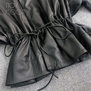 Image 5 - Women black genuine leather corrected grain lambskin leather coats jacket tie waist elasticized rib knit panel at sleeve  LT2477