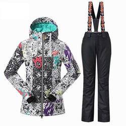 Womens Ski sets ski jackets+ski pants Snowboard ski suit Outdoor sports thermal warm wear snow clothes -30 degree