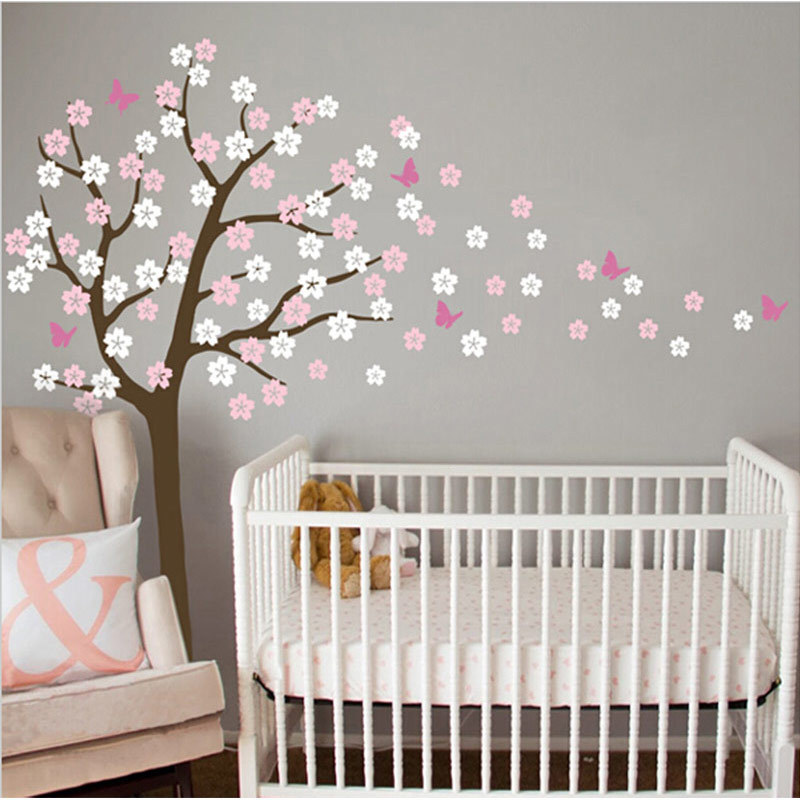 New Huge Tree Blowing Cherry Blossom Wall Decals Nursery Tree